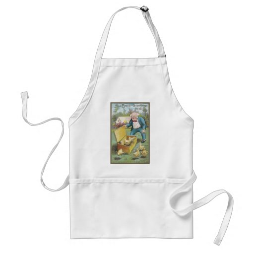 Old Man and Young Chicks Vintage Easter Aprons