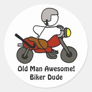 Old Man Awesome!Biker Dude Round Sticker