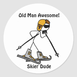 Old Man Awesome!, Skier Dude Round Stickers