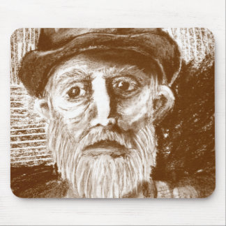 Old Man Brown Charcoal Drawing Mouse Pad