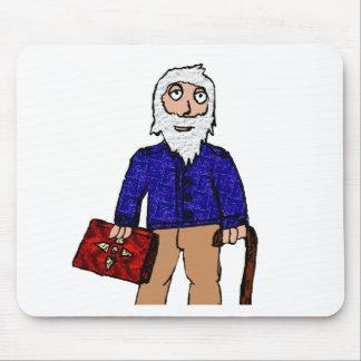 Old man cartoon figure mouse pad