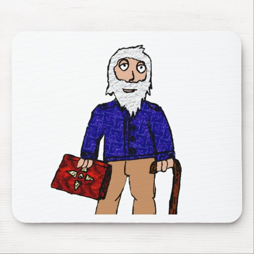 Old man cartoon figure mouse pads