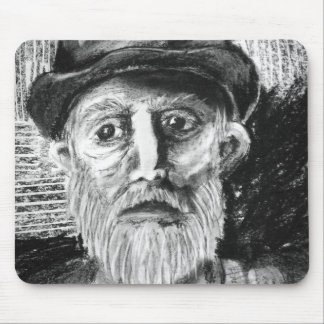 Old Man Charcoal Drawing Mouse Pad