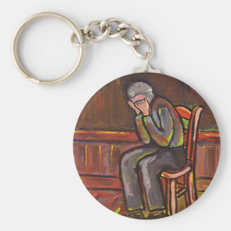 OLD MAN CRYING BASIC ROUND BUTTON KEYCHAIN