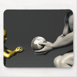 Old Man Giving Earth to a Child as a Conservation Mouse Pad