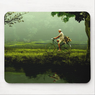 Old man on a bicycle mouse pad