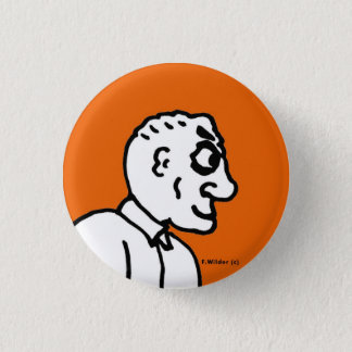 Old Man on orange field 1 Inch Round Button