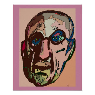 Old Man Pink Face Abstract Poster
