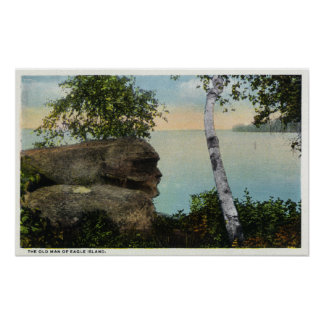 Old Man Rock Formation of Eagle Island View Poster