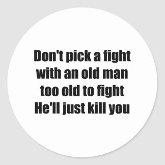 Old Man Round Sticker