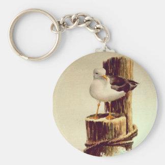 OLD MAN SEAGULL by SHARON SHARPE Basic Round Button Keychain