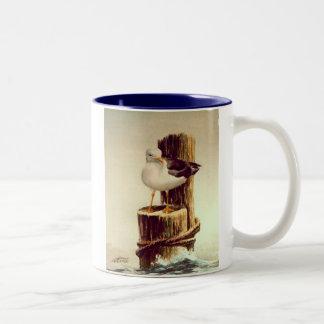 OLD MAN SEAGULL by SHARON SHARPE Two-Tone Coffee Mug