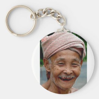 old man smiling keychain