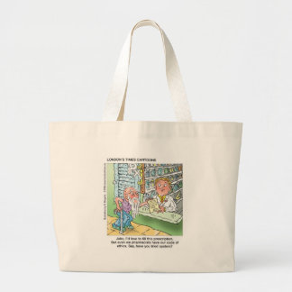 Old Man & The Pharmacy Funny Offbeat Cartoon Gifts Large Tote Bag