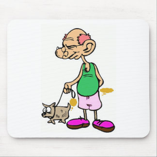 Old Man Walking the Dog Mouse Pad