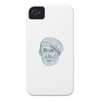 Old Man Wearing Turban Drawing iPhone 4 Cases