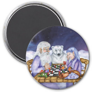 Old Man Winter and Jack Frost Play Chess Magnet