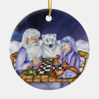 Old Man Winter and Jack Frost Play Chess Ornamnent Round Ceramic Ornament