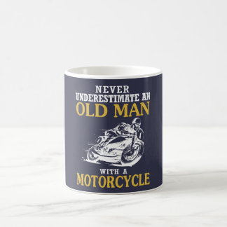 OLD MAN WITH A MOTORCYCLE COFFEE MUG
