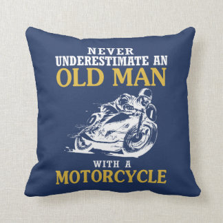 OLD MAN WITH A MOTORCYCLE THROW PILLOW