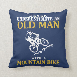 OLD MAN WITH A MOUNTAIN BIKE THROW PILLOW