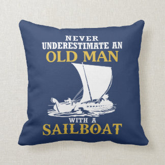 Old Man With A Sailboat Throw Pillow