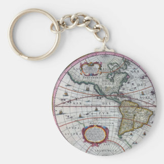 old map Americas Keychain