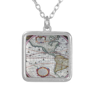 old map Americas Silver Plated Necklace
