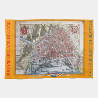 Old Map Amsterdam Holland Towel