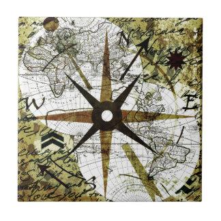 Old map ceramic tile