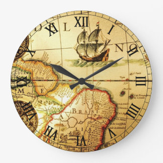 Old Map Large Clock
