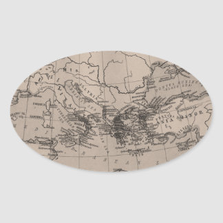 Old Map, Mediterranean Sea, Europe - Brown Black Oval Stickers