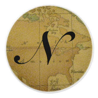 Old Map Monogram Drawer Pulls Ceramic Knob