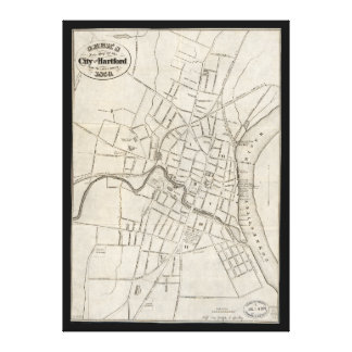 Old Map of Hartford, Connecticut (1859) Canvas Print