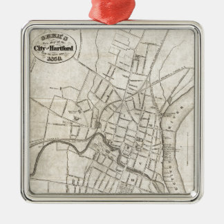 Old Map of Hartford, Connecticut (1859) Metal Ornament