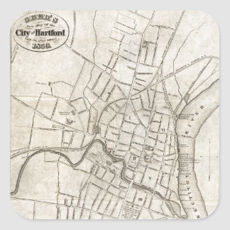 Old Map of Hartford, Connecticut (1859) Square Sticker