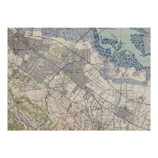 Old Map of Palo Alto & Silicon Valley CA (1943) Poster
