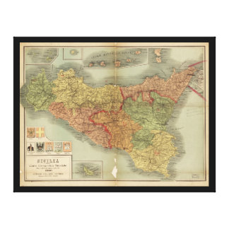 Old Map of Sicily from 1900 (Sicilia carta) Canvas Print
