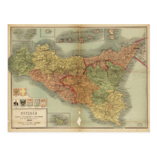 Old Map of Sicily from 1900 (Sicilia carta) Postcard