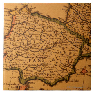 Old map of Spain Tile