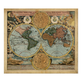 Old Map of the World 1716 Medieval poster print
