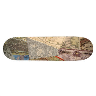 Old Maps Collage Custom Skateboard