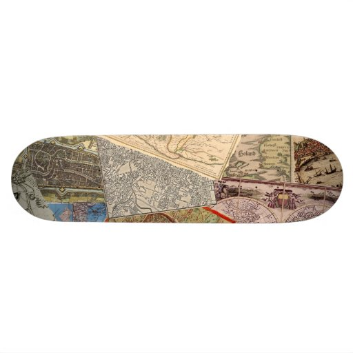 Old Maps Collage Skate Board Decks