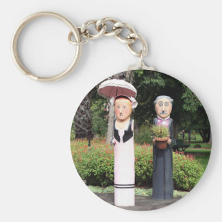 Old married couple sculptures basic round button keychain