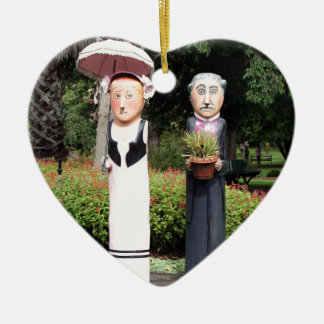 Old married couple sculptures ceramic heart ornament