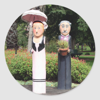 Old married couple sculptures round sticker