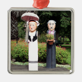 Old married couple sculptures Silver-Colored square ornament
