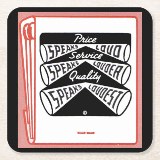 old matchbook cover Price Speaks Loud Square Paper Coaster