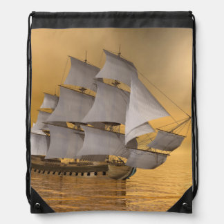 Old merchant ship - 3D Render Drawstring Bag
