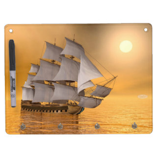 Old merchant ship - 3D Render Dry Erase Board With Keychain Holder